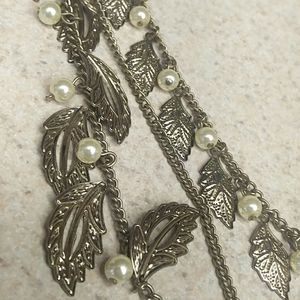 Leaf and pearl 3 strand long hang necklace